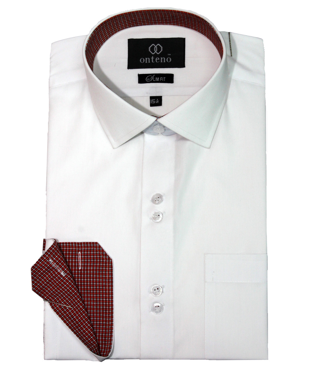 White slim fit shirt with contrasting collar cuffs for Mens dress shirts with contrasting collars and cuffs