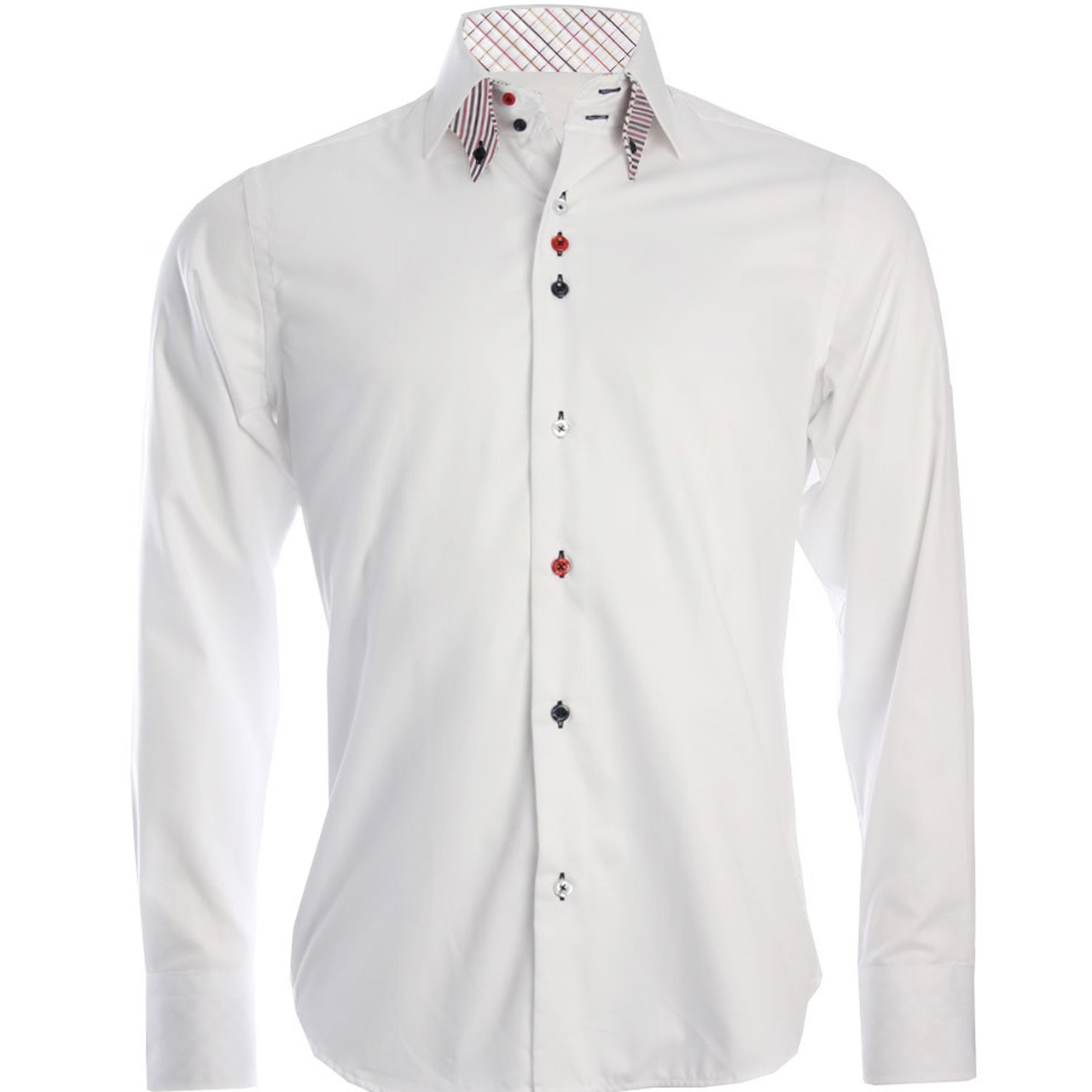 Men 39 s double button collar white shirt for Mens button collar shirts