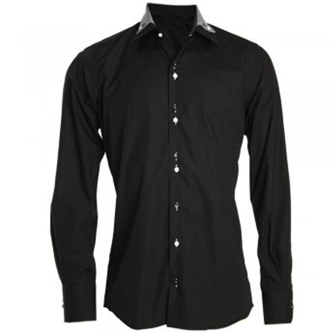 Men 39 s designer double collar black shirt for Small collar dress shirt