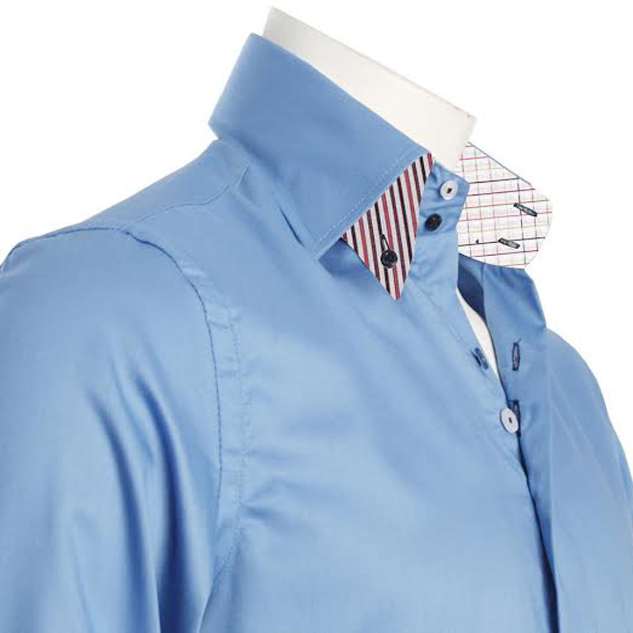 Men 39 s blue shirt with two buttons collar for Mens button collar shirts