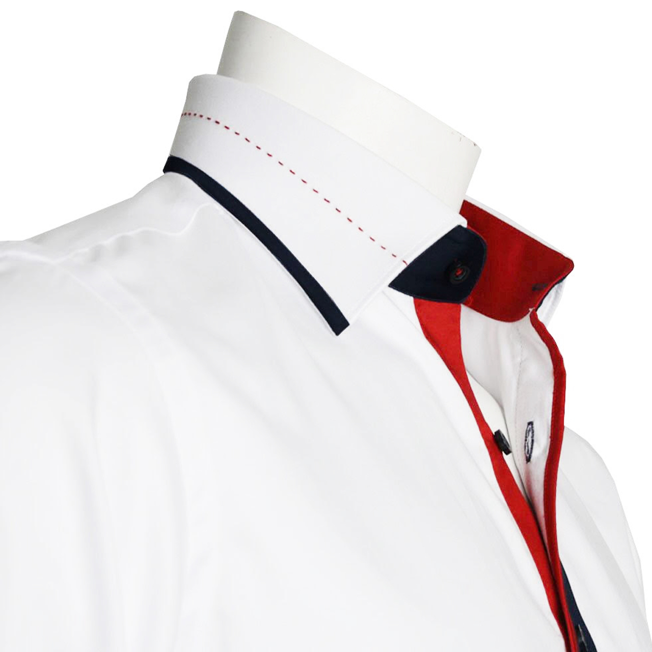 Mens White Shirt With Navy And Red Trim