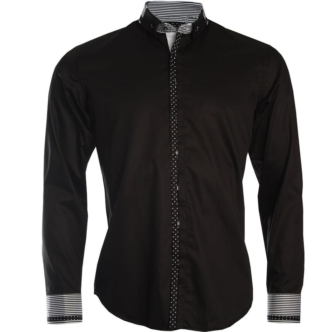 Men 39 s italian style black button down formal shirt for Tuxedo shirt black buttons