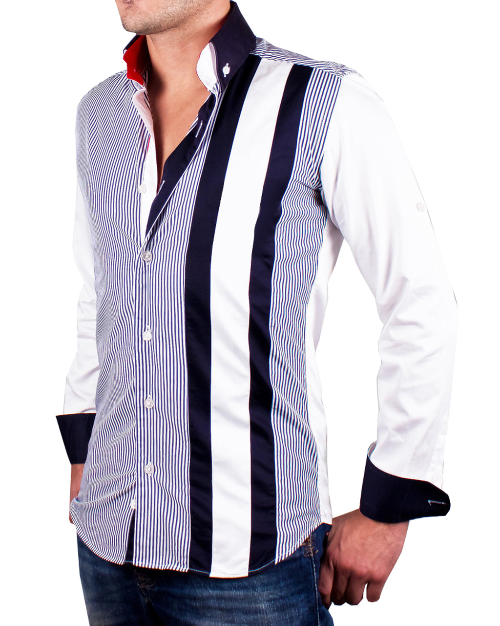 Men 39 s navy and white striped italian style shirt for Navy striped dress shirt