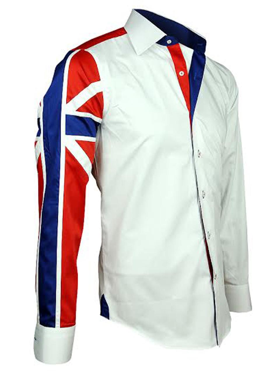 Men 39 s italian style white union jack print shirt for Italian style dress shirts