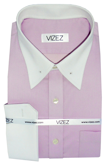 Contrasting collar dress shirt