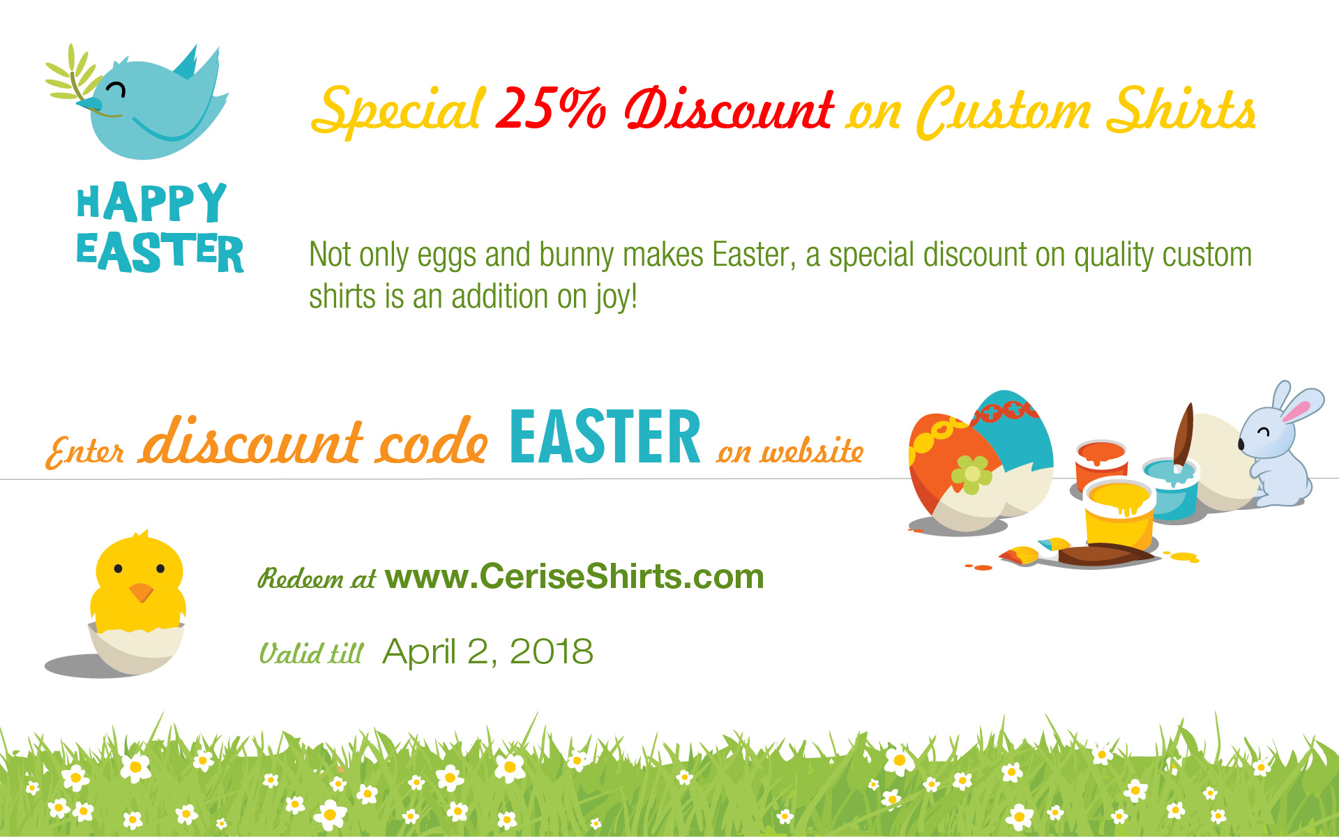 Easter special deal: 25% off on all shirts