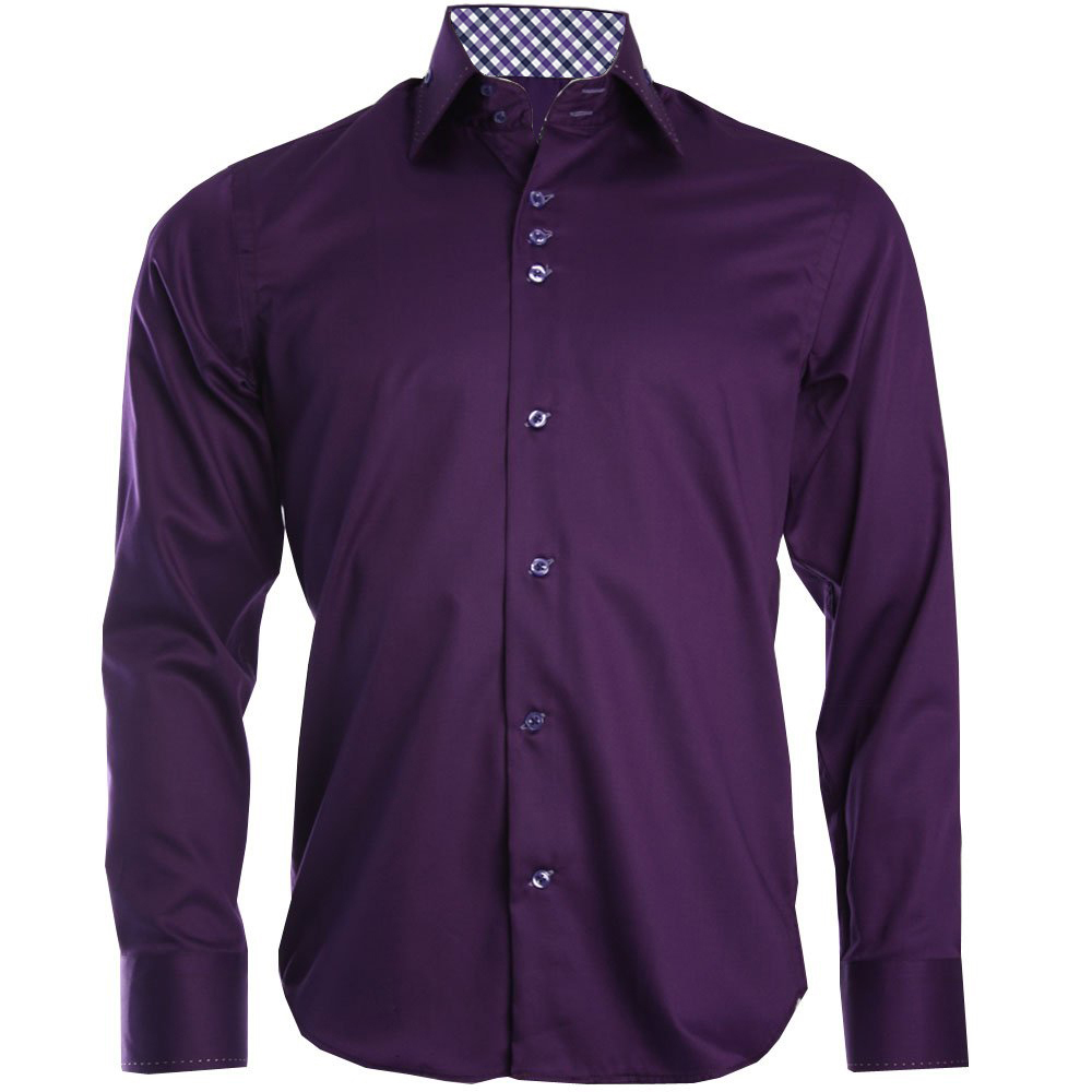 Men 39 s double button collar purple shirt for Three button collar shirts