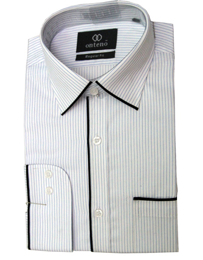 Light Blue/White Shirt with Black Piping