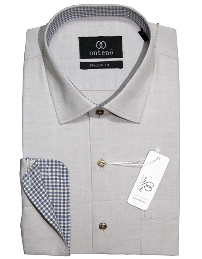 Silver Shirt with Blue check contrasts