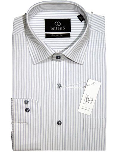 White Shirt With Grey Stripes