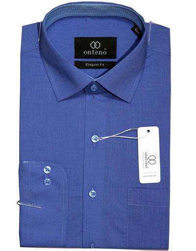 Deep Blue Shirt With Sky Blue Inner Collar & Cuffs