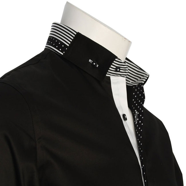 Men's Italian Style Black Button Down Formal Shirt