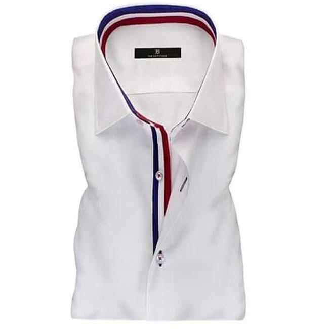 Men's White Ribbon Collar Formal Shirt
