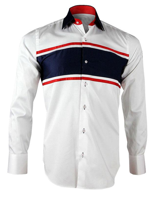 Men's White and Navy Stripe Print Formal Shirt