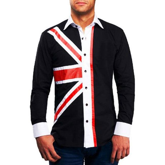 Men's Black Union Jack Print Formal Shirt