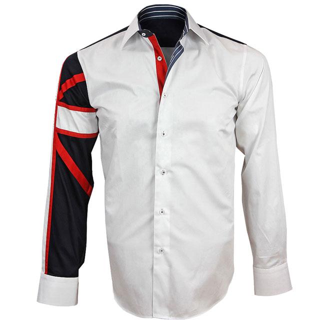 Men's Italian Style White Union Jack Print Formal Shirt