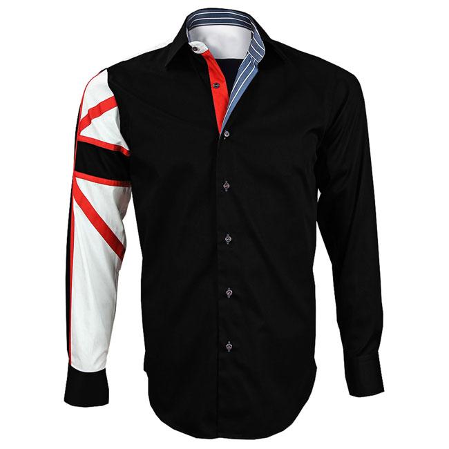 Men's Italian Style Black Union Jack Print Regular Fit Formal Shirt