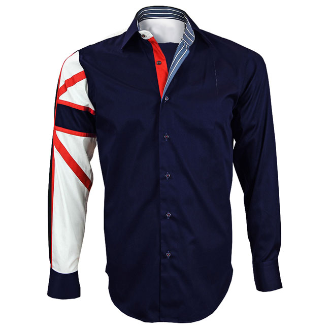Men's Italian Style Navy Union Jack Print Formal Shirt