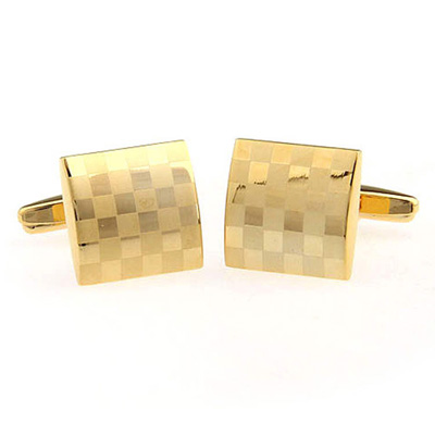Laser Engraved golden Men's  Cuff Links