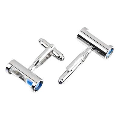 Blue Mens Fashion Novelty Silver Glass Hourglass  cufflinks