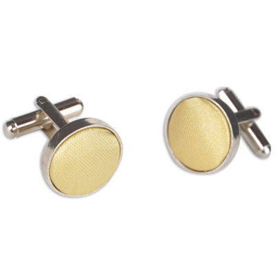 Gold/Beige Round Cuff Link