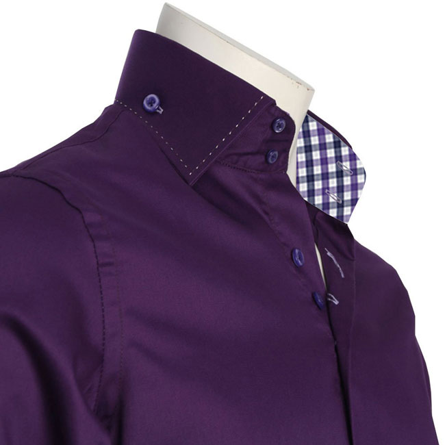 MEN'S DOUBLE BUTTON COLLAR PURPLE SHIRT