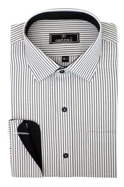Black/White Stripes With Black Inner Cuff & Collar