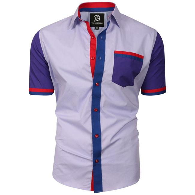 Men's Italian Style Short Sleeve Regular Fit Shirt Light Purple