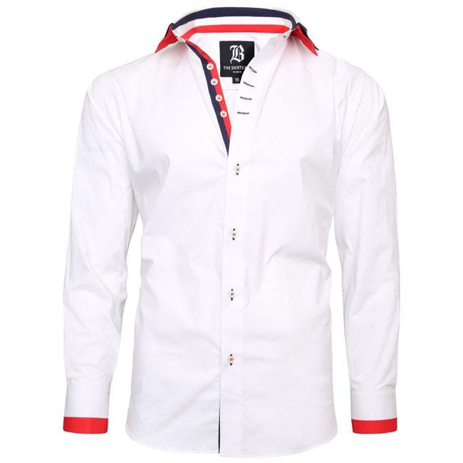 Men's Italian Style White Triple Collar Regular Fit Formal Shirt