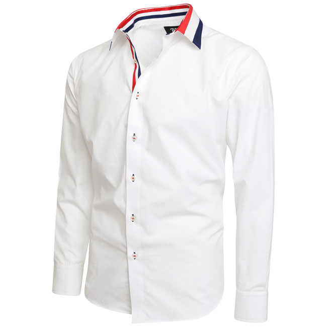 Men's White Triple Colour Collar Regular Fit Formal Shirt