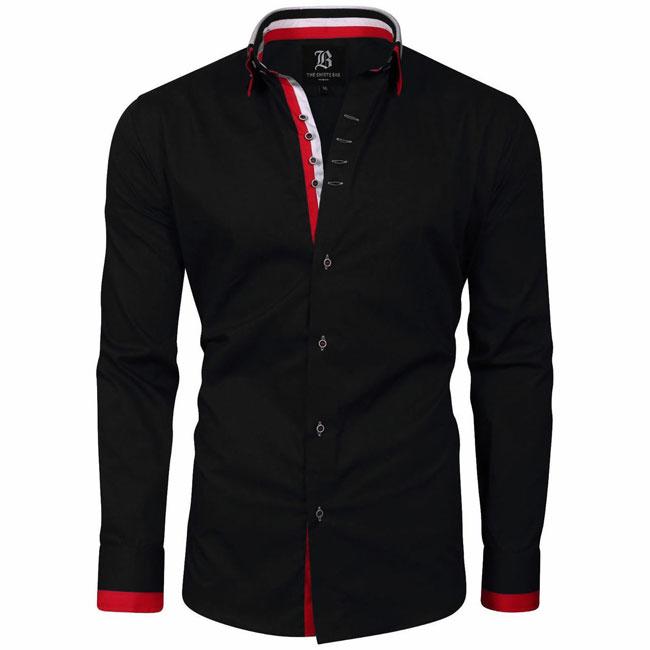 Men's Italian Style Black Triple Collar Regular Fit Formal Shirt
