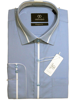 Blue Elegant Fit Shirt with White Contrasts