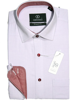White Royal Oxford Shirt with red mini check contrasts
