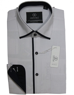 Silver Gray Stripes Shirt with Contrasting Inner Black Collar & Cuffs