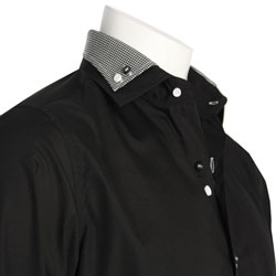 Men's Designer Double Collar Black Shirt