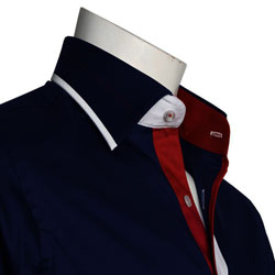 Men's Designer Navy Shirt With White and Red Trim
