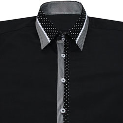 Men's Designer Black Polka Dot and Striped Collar Formal Shirt