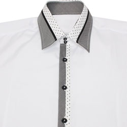 Men's Designer White Polka Dot and Striped Collar Formal Shirt