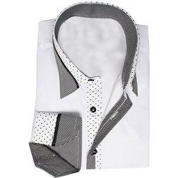 Men's Designer White Polka Dot and Striped Collar Formal Shirt
