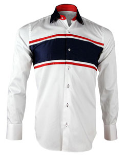 Men's White and Navy Stripe Print Formal Shirt