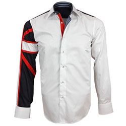 Men's Italian Style White Union Jack Print Formal Shirt