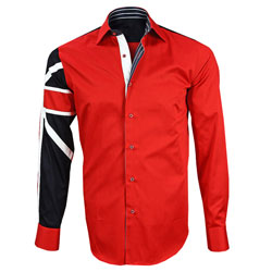 Men's Italian Style Red Union Jack Print Formal Shirt