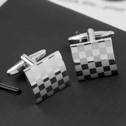 Laser Engraved Silver Men's  Cuff Links