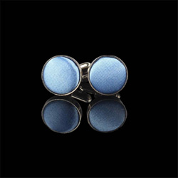 Sky Blue Round Cuff Links