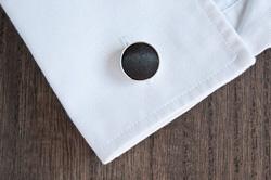Black Round Cufflinks