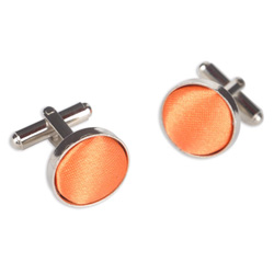 Orange Red Round Cufflinks