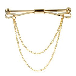 Gold Clasp Bar with Chain