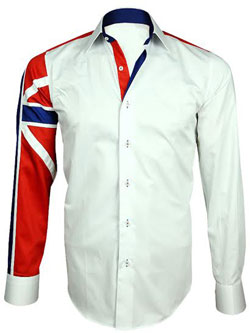 MEN'S ITALIAN STYLE WHITE UNION JACK PRINT SHIRT