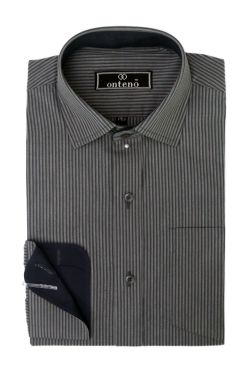 Dark Gray Stripes With Navy Blue Inner Cuff and Collar