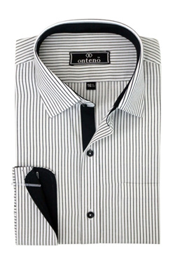 Black/White Stripes With Black Inner Cuff & Collar